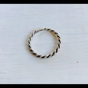 Sterling Silver Twisted Rope Band Stacking Ring